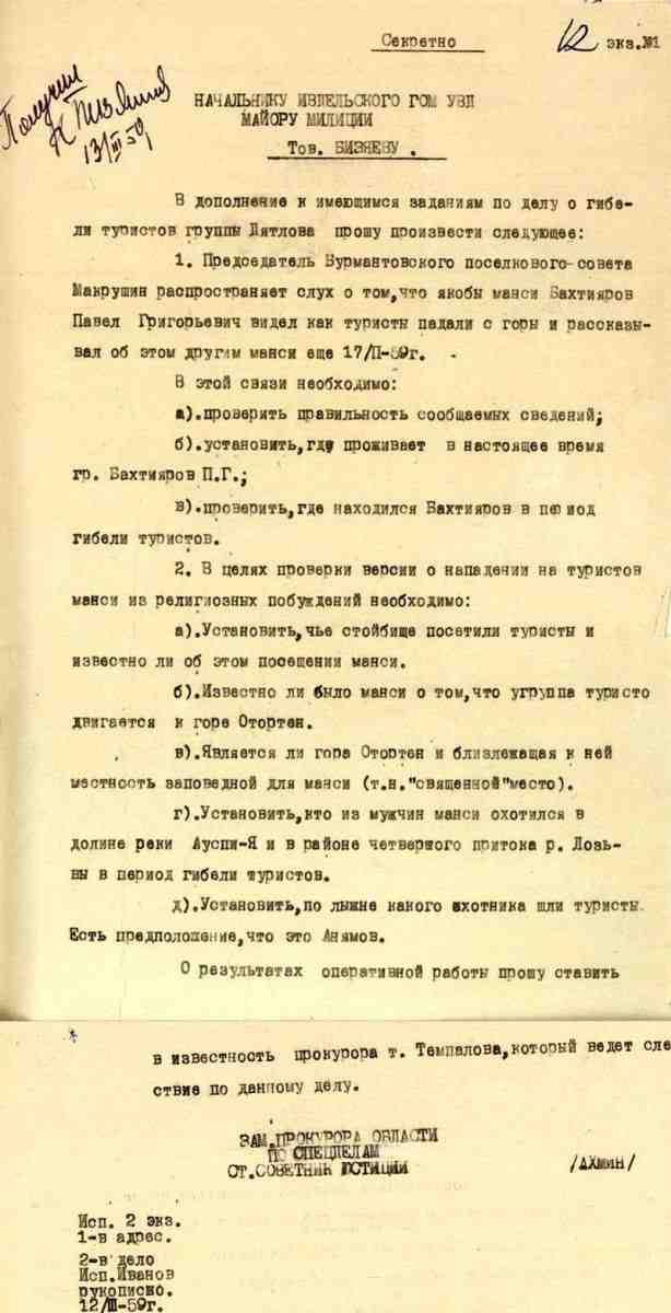 Секретное распоряжение зам. прокурора Свердловской области Ю.Н. Ахимин по расследованию причастности  манси е гибели группы Дятлова