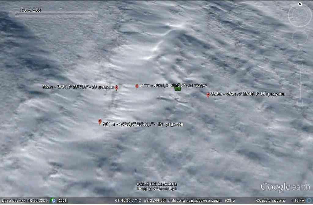 Углы наклона на местности расположения платки группы Дятлова - Google earth