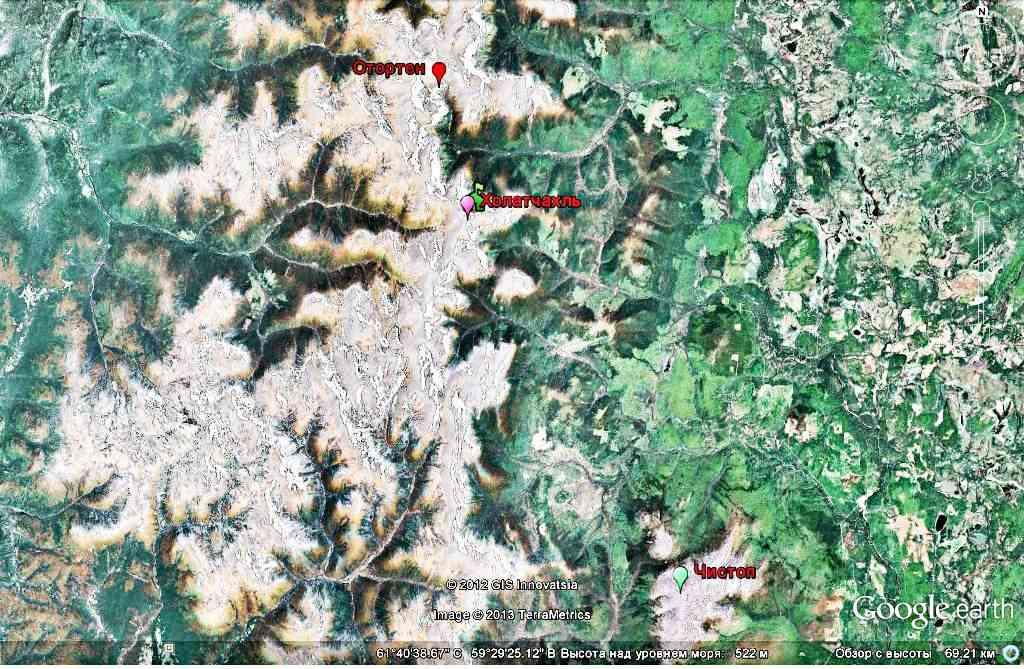 Группа Анатолия Шумкова на горе Чистоп - карта