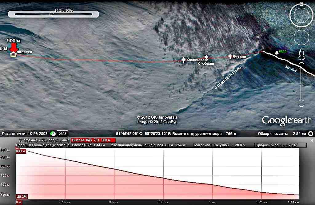 Места расположения тел относительно палатки Google earth