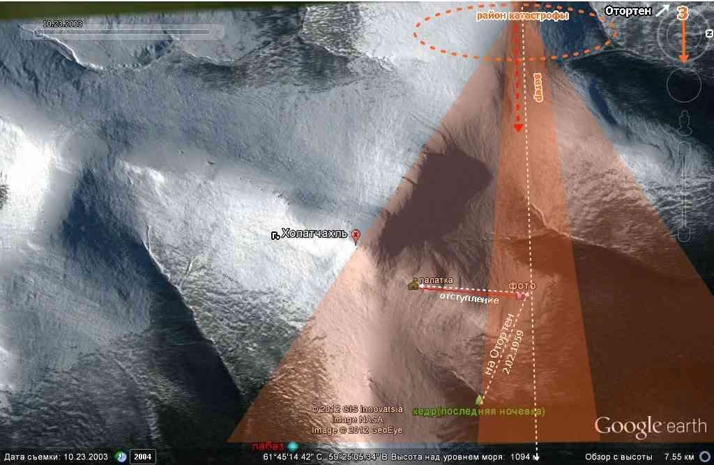 Схема покрытия аэрозольным облаком метанола окрестностей места гибели группы Дятлова на Google earth