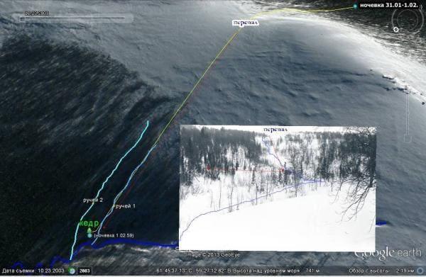 Схема: группа остановилась на у большого Кедра, рядом с незамерзающим зимой ручьем