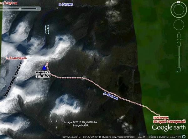 маршрут возвращени группы Дятловая на Юг - в лесную зону долины реки Ауспия