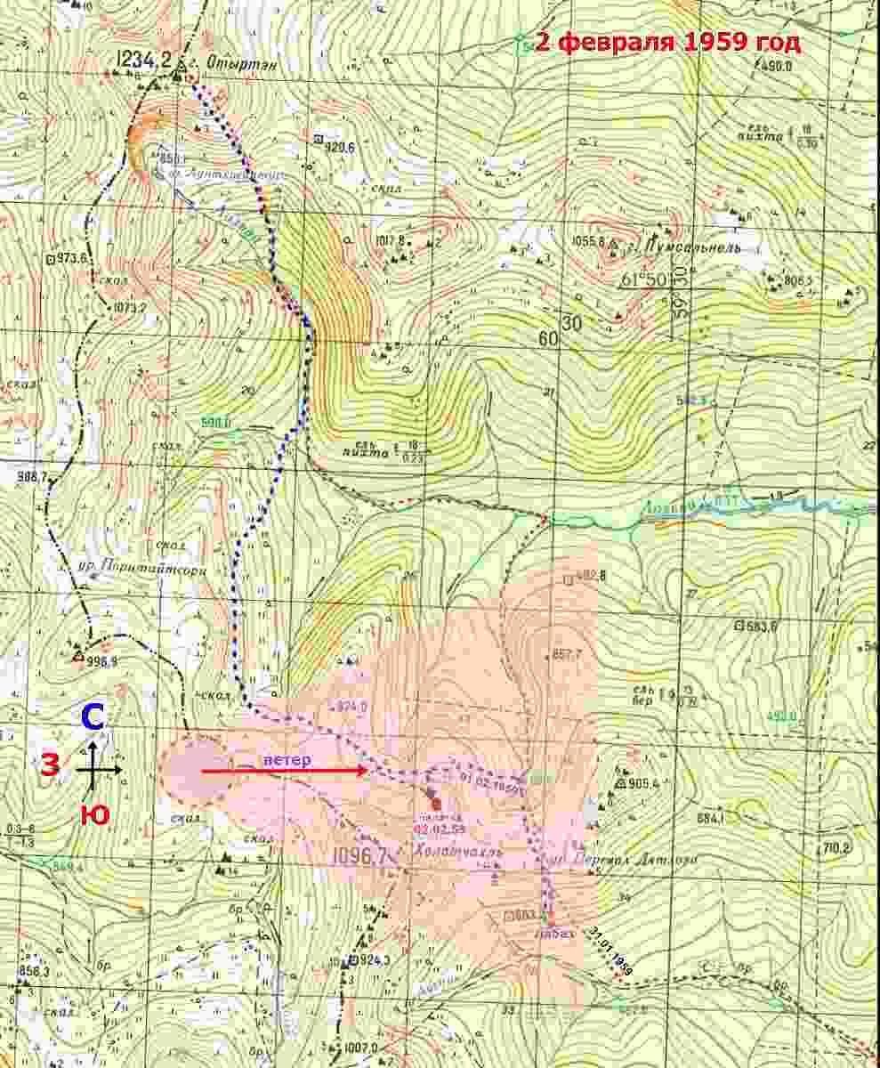 Схема покрытия аэрозольным облаком метанола окрестностей места гибели группы Дятлова на карте