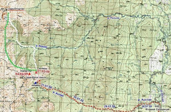 """2 возможных маршрута группы """"Хибина"""" от поселка Второй Северный до горы Отортен на современной карте"""