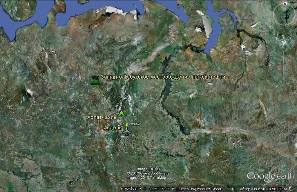 Западно-Тэбукское месторождение на карте