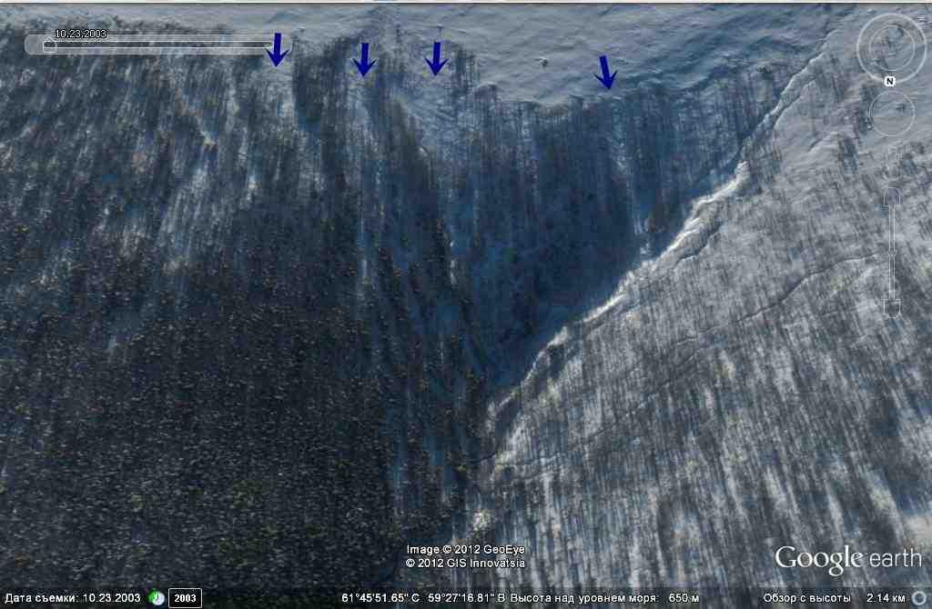 Просеки идущие из зоны снегонакопления в долину четвертого притока Лозьвы
