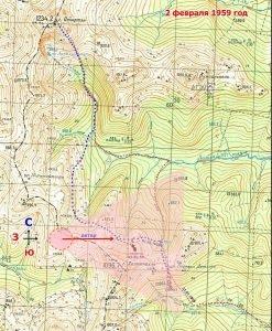 карта катастрофы у горы Холатчахль