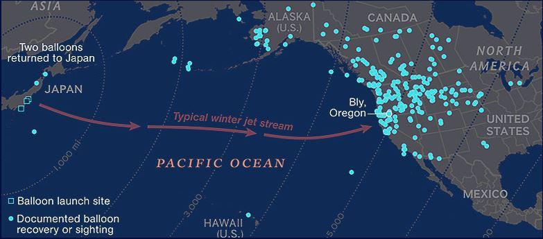 воздушный поток   из Японии в Америку