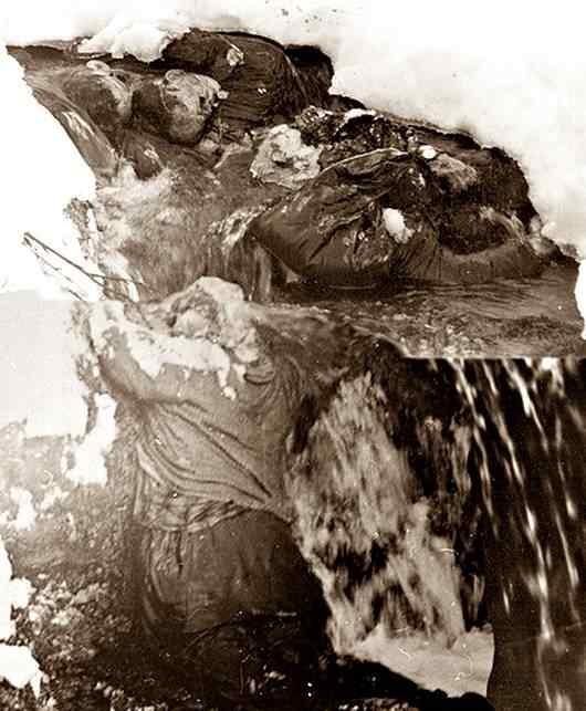Выше тела Людмилы Дубининой видны тела Золотарева Семена, Колеватова Александра и Николая Тибо-Бриньоля