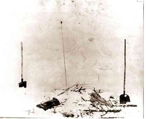Настил из веток, сооруженный ребятамигруппы Дятлова