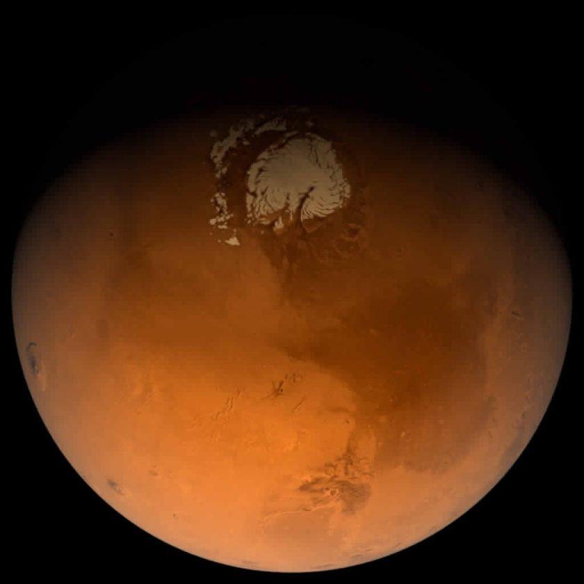 Вид ледяных покровов на поверхности Марса