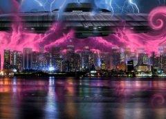 Вид летающей тарелки НЛО над Нью Йорком